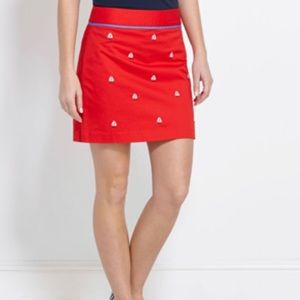 Vineyard Vines Red Embroidered Sailboat Skirt 8